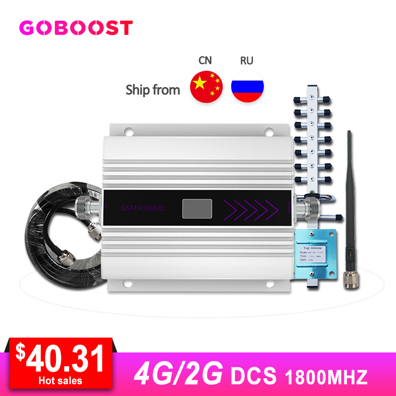 LTE 4G DCS 1800MHZ amplificateur de Signal cellulaire affichage LCD répéteur de Signal de téléphone portable Yagi + câble Coaxial d'antenne fouet/