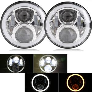 Image 1 - Pair 7 Inch Round LED Headlights High Low Beam White Halo Ring Angel Eyes DRL + Amber Turning Signal Lights for Jeep & Hummer