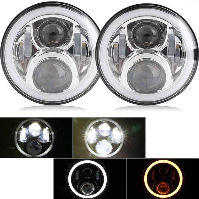 Pair 7 Inch Round LED Headlights High Low Beam White Halo Ring Angel Eyes DRL + Amber Turning Signal Lights for Jeep & Hummer