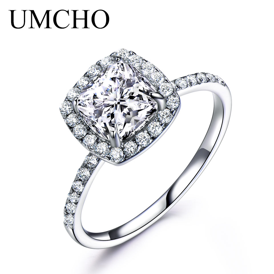UMCHO Solid 925 Sterling Silver Rings For Women Solitaire Ring Engagement  Wedding Band Fashion Party Gift Fine Jewelry