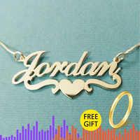 Coeur avec nom personnalisé collier et pendentifs pour femmes lettre personnalisée bijoux en acier inoxydable or rempli de cadeaux de demoiselle d'honneur