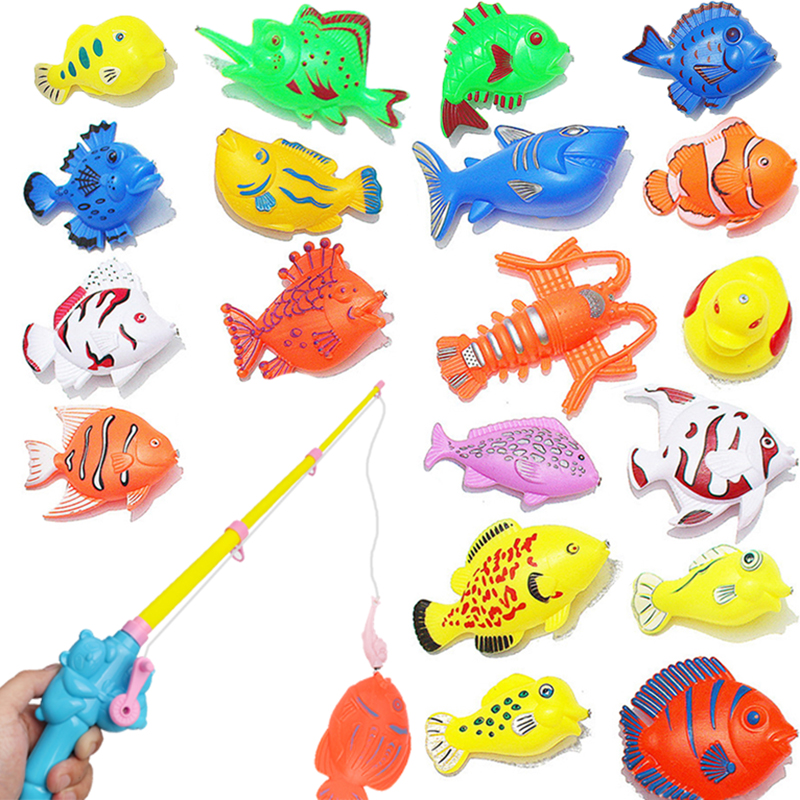 Children Bathtub Magnetic Fishing Toy Swimming Bathing Pool Water Floating Fish Toy Parent-child Interactive Toys Game Baby Toys(China)