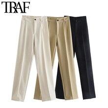 TRAF-Pantalones rectos elegantes con bolsillos laterales para Mujer, pantalón Vintage de cintura alta con cremallera, para Mujer