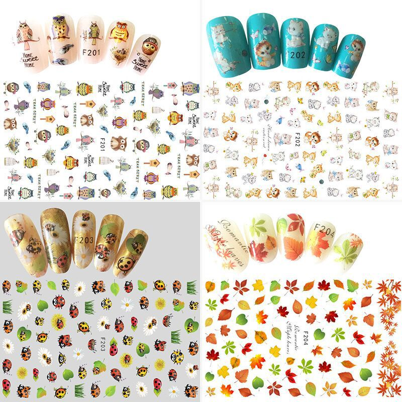 Nail Sticker Cartoon Nail Sticker Smiley Simple-Style Manicure Flower Stickers Manicure Decorations Bare Clip Children Adhesive