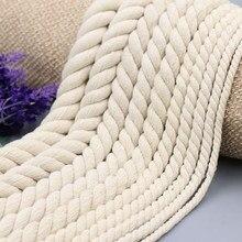 5mm 6mm8mm10mm12mm15mm20mmthree strand trançado 100% algodão corda artesanal diy para decoração de casa parede