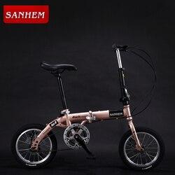 14-Inch Lipat Ultra Ringan Sepeda Anak-anak Anak-anak Variabel Kecepatan Dual Rem Sepeda Lipat untuk Mahasiswa