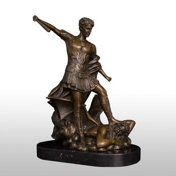 ATLIE BRONZES คลาสสิก St. MICHAEL The Archangel รูปปั้น Stick Bronze โรมันคาทอลิก Angel Miguel ประติมากรรมตกแต่ง