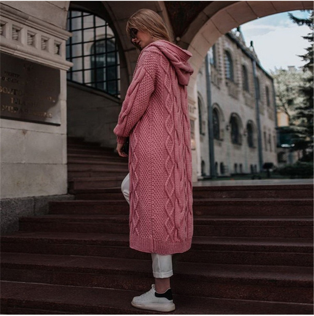 Winter Long Sleeve Warm Cardigan Female Knitting Long Cardigan Sweater Women Jumper White Pocket Hooded  Knitted Sweater Autumn