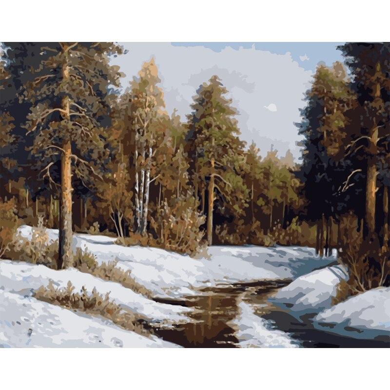 Malerei Durch Zahlen DIY Dropshipping 40x50 60x75cm Wald creek in die schnee Landschaft Leinwand Hochzeit dekoration Kunst bild Geschenk
