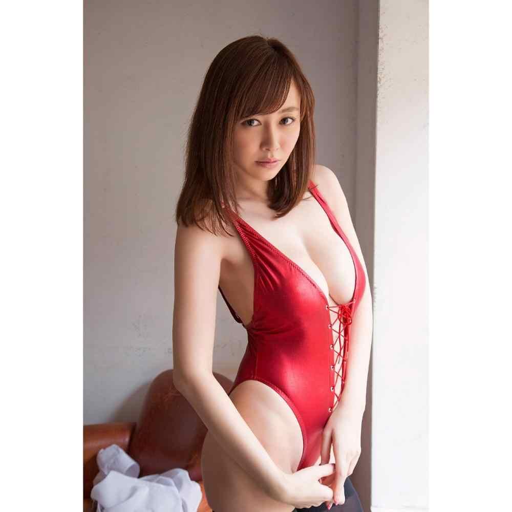 Quente sexy vermelho couro do plutônio bandage bodysuit alta corte tanga maiô feminino nadar sukumizu maiô cosplay corpo topos