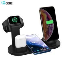 Estación de carga 3 en 1 para Apple Watch 5, 4, 3, 2, 1, iPhone 11, X, XS, XR, 7, 8, Airpods, cargador inalámbrico Qi de 10W para Samsung S10, S9