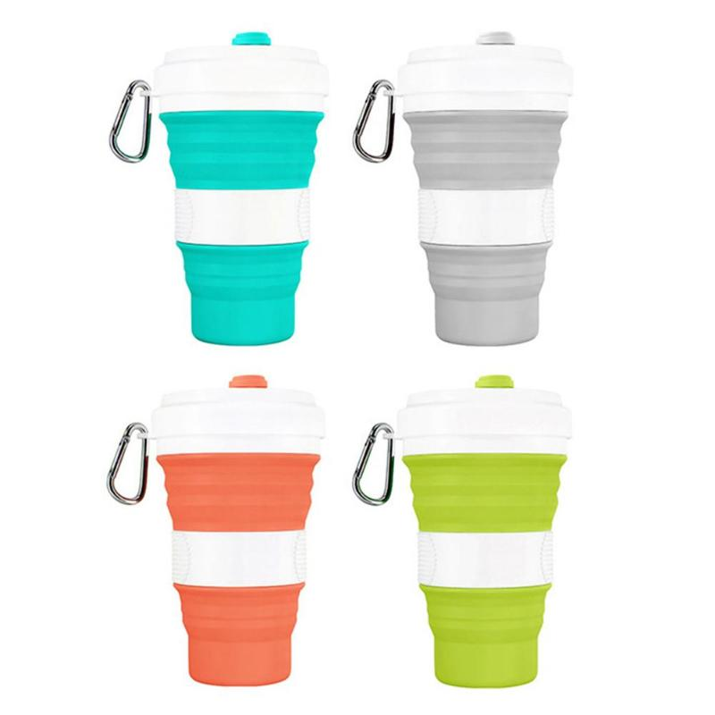 550mL Foldable Silicone Cup Wear-resistant Outdoor Camping Car Drinking Mug Collapsible with Leak-Proof Lid Water Mug Food Grade image