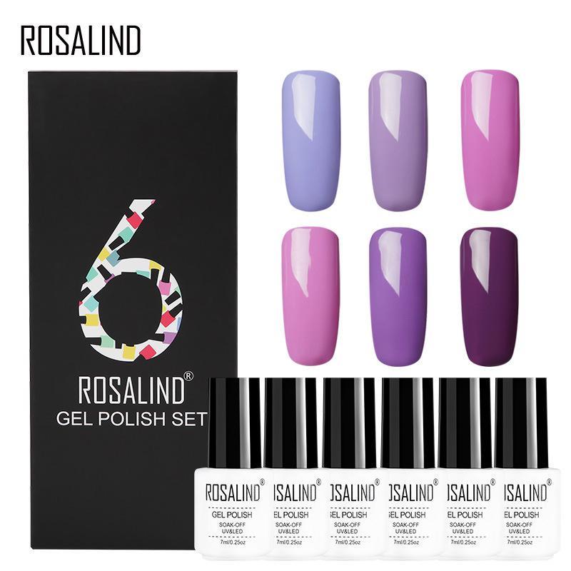 rosalind 6 pcs lote cor solida serie gel 12 cores gel polones kit uv led gel