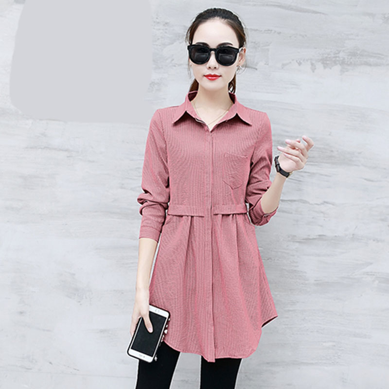2019 Summer New Women Blouse And Shirts Solid Slim Long Turn-down Collar Office Lady Elegant Shirts Outwear Tops