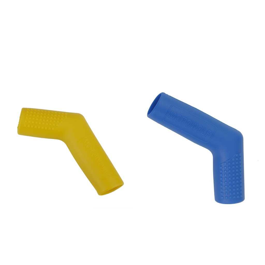 2 adet Shifter kapak Peg vites kolu kapakları Boot ayakkabı koruyucu motosiklet dişli seti, mavi + sarı