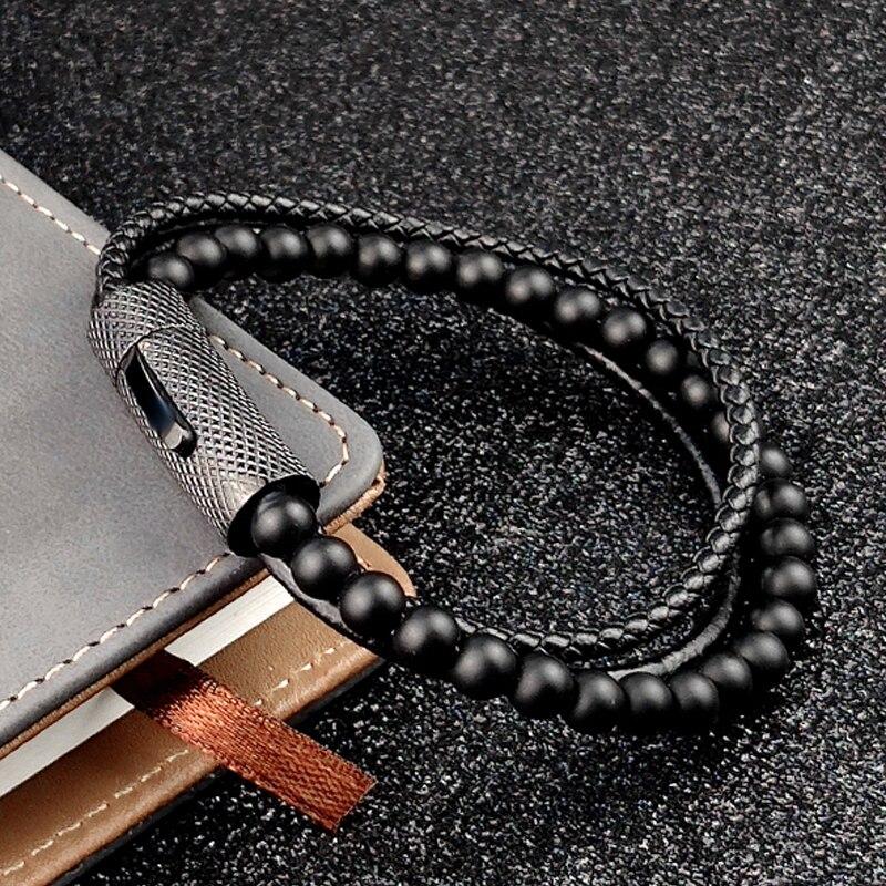 MingAo breloque hommes Bracelet perlé noir Bracelet en cuir Vintage perles de pierre naturelle en acier inoxydable femmes aimant fermoir Bracelet
