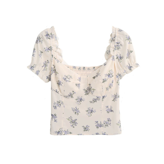 Summer shirt casual flower print ruffled decorative slim shirt