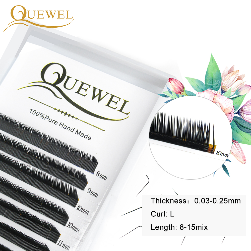 Quewel False Eyelashes Extension 12 Lines Soft Natural Lashes Personal L Curl Black Matte Eyelash Artificial High Quality Lashes