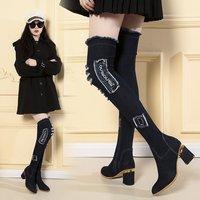 Denim botas de tênis feminino botas finas vermelhas sobre o joelho botas longas grossas com saltos altos estilo coreano outono e inverno|  -