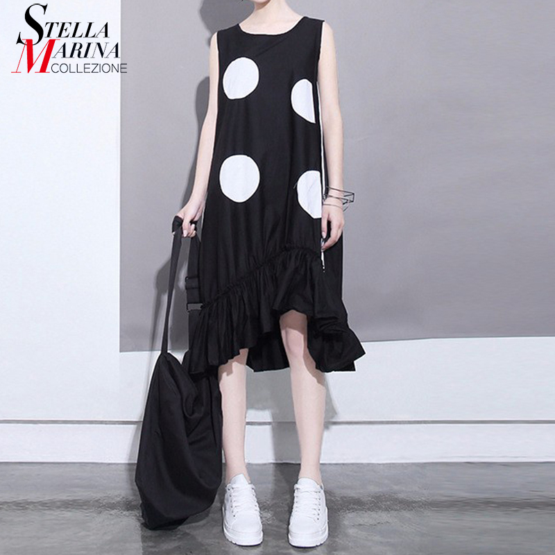 New 2019 Summer Women Black Sun Dress Large Dots Patches Sleeveless Ruffles Hem Straight Sundress Lady Cute Midi Tank Dress 1193