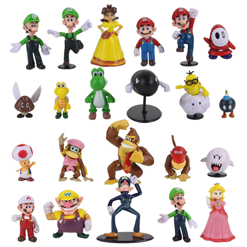 22pcs/set Super Mario Figure Toys Luigi Yoshi Toad Donkey Kong Bowser Goomba Bomb Wario Waluigi Diddy Ghost Figurine Mini Dolls(China)