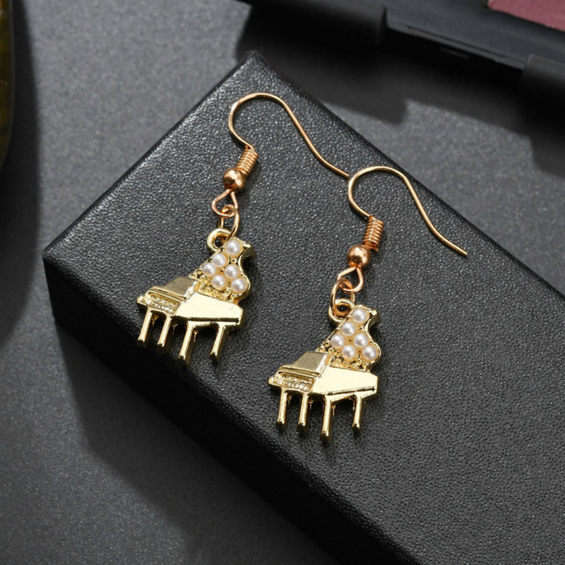 Creative Piano Violin Pearl Earrings For Women Gold Color Musical Instrument Dangle Earrings Accessories Jewelry Artist Gifts