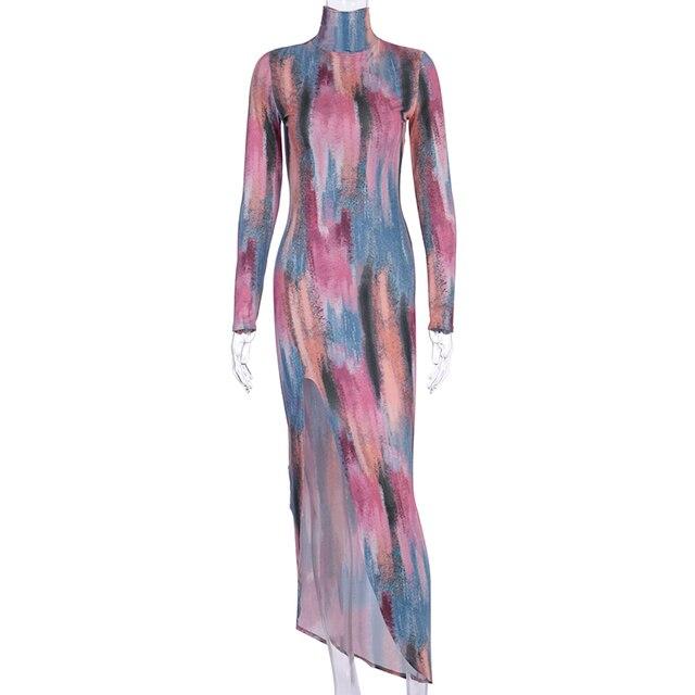 Купить платье миди с длинным рукавом и разрезом по бокам элегантное