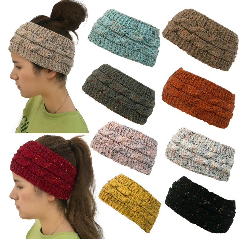 New Autumn And Winter Models Europe And The United States Mixed Color Yarn Knit Hat Without Hot Ponytail Hair Band To Keep Wa