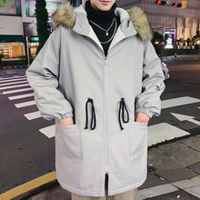 Winter New Coat Men's Fashion Parka Men Thick Warm Casual Fur Collar Hooded Coat Man Wild Loose Long Cotton Jacket Male Clothes цена 2017