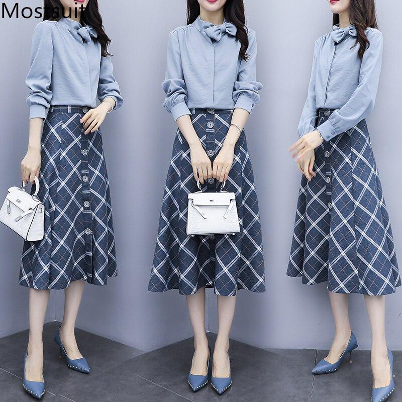 2019 Autumn Two Piece Sets Outfits Women Plus Size Bow Shirt And Plaid Skirt Suits Elegant Office Korean 2 Piece Sets Blue Khaki