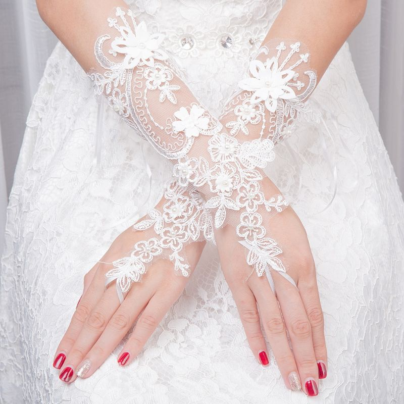Women Wedding Fingerless Gloves Lace Faux Pearl Floral Applique Bowknot Mittens