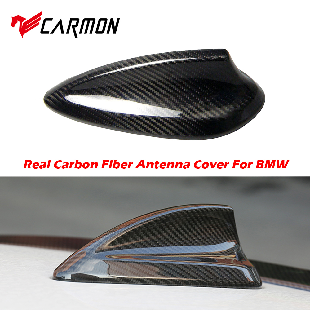 01 Genuine Carbon Fiber Car Roof Shark Fin Antenna Cover Trim Shark Fin Aerial with Adhesive Tabe for BMW Series 1 F20 2 F22 F23 M2 3 F30 F31 F35 M3 F80 4 F32 F33 F36 M4 F82 F83