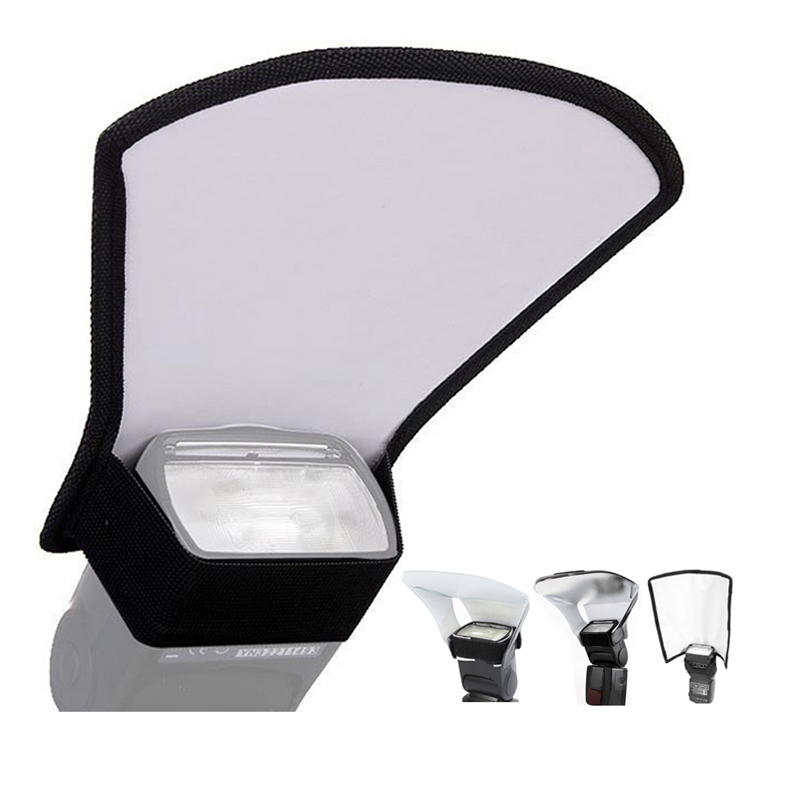 Camera Flash Diffuser 3 In 1 Flash Softbox Double-sided Photo Light Reflector For Canon Cameras Foldable Speedlite Difusor Flash
