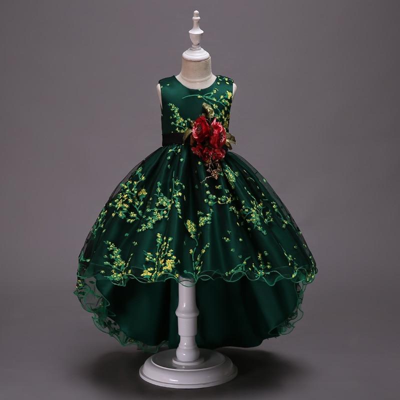 Girl'S Gown Princess Dress Tutu Dress Piano Costume Tailing Dresses Of Bride Fellow Kids Handmade Flower Wedding Dress Zou Xiu Q