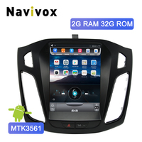 Navivox 2 Din Android Car DVD Player GPS Navi For Ford Focus 2012 2017 Mirror Link Bluetooth Tesla Style Big Screen Car Radio