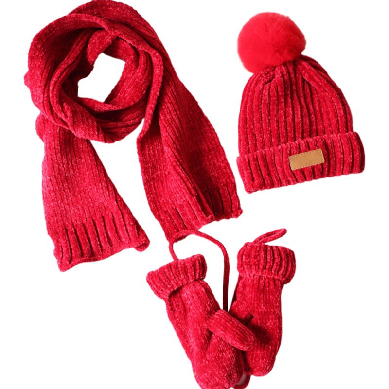 3 In 1 Toddler Kids Winter Ribbed Knit Warm Pompom Beanie Hat Scarf Gloves Set Y1AC