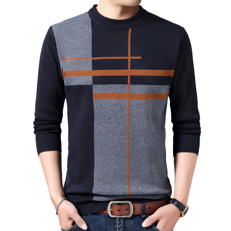 Autumn Casual Men's Sweater Wool O-Neck Splice Slim Fit Knittwear Mens Sweaters Pullovers Men Cashmere Jacket