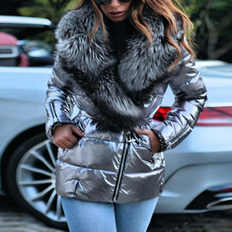 Casual Women Fur Collar Hooded Coat Long Sleeve Luxury Jackets Thick Warm 4XL Plus Size Coats Short Parkas 2021 New Silver Black