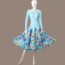 Dance-Dress Ballroom Foxtrot Waltz Tango Blue for Print Viennese Plus-Size