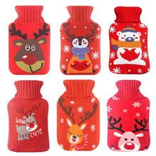 1000ml Hot Water Bag Christmas Hand Warmer Knitted Elk Cover Bottle Rubber liner Water-filled Container Handwarmer