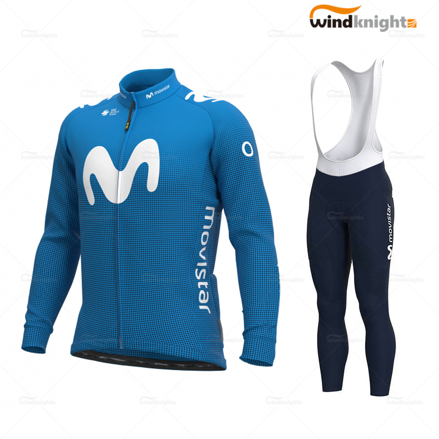 Cycling Clothes Set 2020 Spring/Autumn men Long Sleeve Blue Jersey Bib Shorts Gel Breathable Pad ropa ciclismo verano Movistar