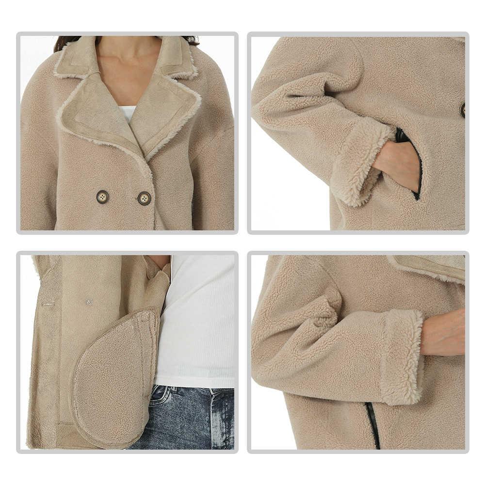 נשים סתיו חורף צמר מעיל ארוך שרוול תורו למטה צווארון Oversize בלייזר להאריך ימים יותר מעיל אלגנטי מעילי Loose בתוספת גודל
