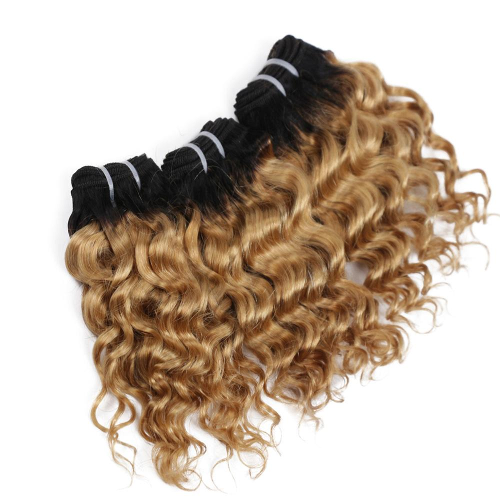 "Real Beauty 8"" Ombre Deep Wave  Short Bob Style  1B/27 Remy Human Hair Bundles 50g Two Tone Honey Blonde Brazilian Hair Weave"