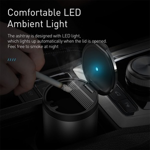 Image 3 - Baseus Car Ashtray Portable LED Light Cigarette Smoke Ashes Holder for Car Flame Retardant High Quality Ash tray Car Accessories