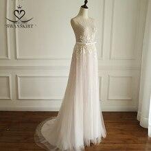 Boho Rosa Applicazioni di Perline Abito Da Sposa 2020 Swanskirt di Lusso Sequin di Tulle Principessa Corte Dei Treni Abito Da Sposa robe de mariee A249