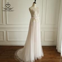 Boho rosa frisado apliques vestido de casamento 2020 swanskirt luxo lantejoulas tule princesa tribunal trem vestido de noiva robe de mariee a249