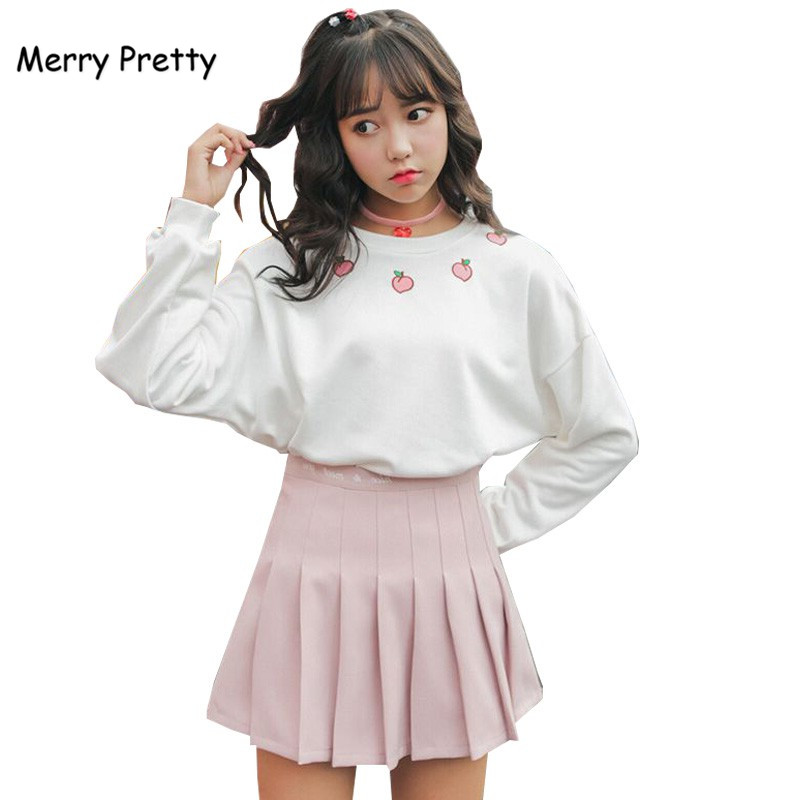 Merry Pretty Autumn Harajuku Hoodie Women Long Sleeve Cotton Sweet Sweatshirt Peach Embroidery Girls' White Hoodies Pullovers