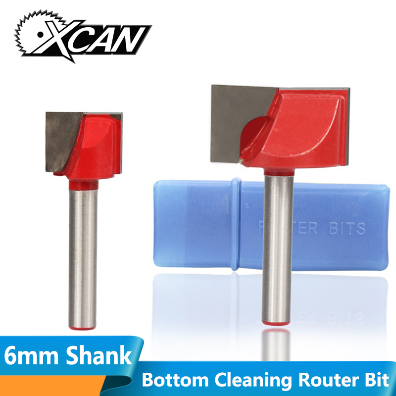 XCAN 1pc 28mm Wood Trimmer Bottom Cleaning Engraving Bits 6mm Shank CNC Milling Cutter Wood Router Bit