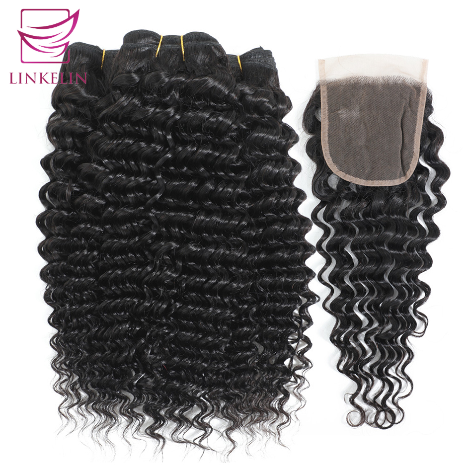 Deep Wave Bundles With Closure LINKELIN Hair With Closure Human Hair Bundles With Frontal Mongolian Hair Weave