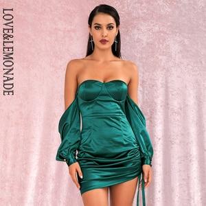 Image 3 - LOVE & limonada vestido verde sexi con hombros descubiertos, minivestido de fiesta, mangas sueltas, Ceñido